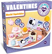 JOYIN 28 Pack Valentines Day Gift Cards with Gift Cute Kawaii Mochi Squishy to Squeeze for Kids, Classroom Exchange Prizes Valentine Party Favor Toy
