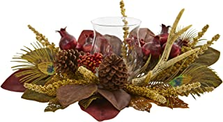 Nearly Natural 4277 Magnolia, Berry, Antler and Peacock Feather Artificial Candelabrum Silk Arrangements, Assorted