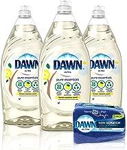 Dawn Pure Essentials Dishwashing Liquid Dish Soap (3x24oz) + Non-Scratch Sponge (2ct), Lemon Essence, 1 Set