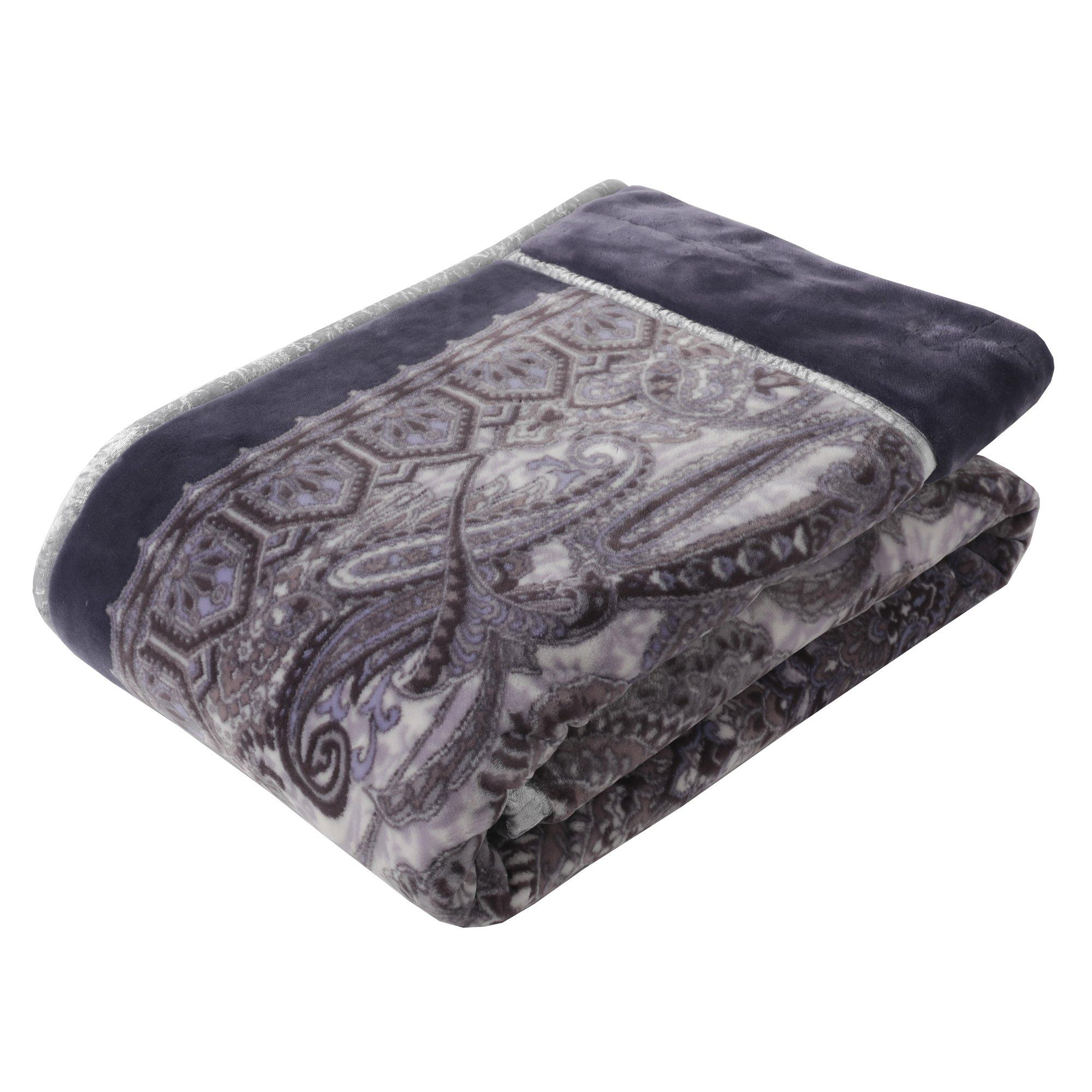 東京西川 毛布 シングル ふっくら なめらかローズオイル加工 マイモデル ロイヤルペイズリー柄 日本製 グレー FQ07010007GR