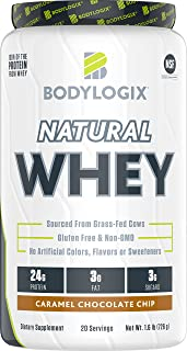 Bodylogix Natural Grass-Fed Whey Protein Powder, NSF Certified, Caramel Chocolate Chip, 1.6 Pound