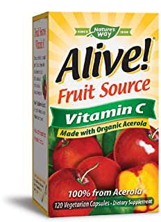 Nature's Way Alive! Vitamin C Supplement, Made with Organic Fruit, 120 Vegetarian Capsules