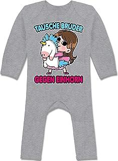 Shirtracer Geschwisterliebe Baby - Tausche Bruder gegen Einhorn - Baby-Body Langarm für Jungen und Mädchen