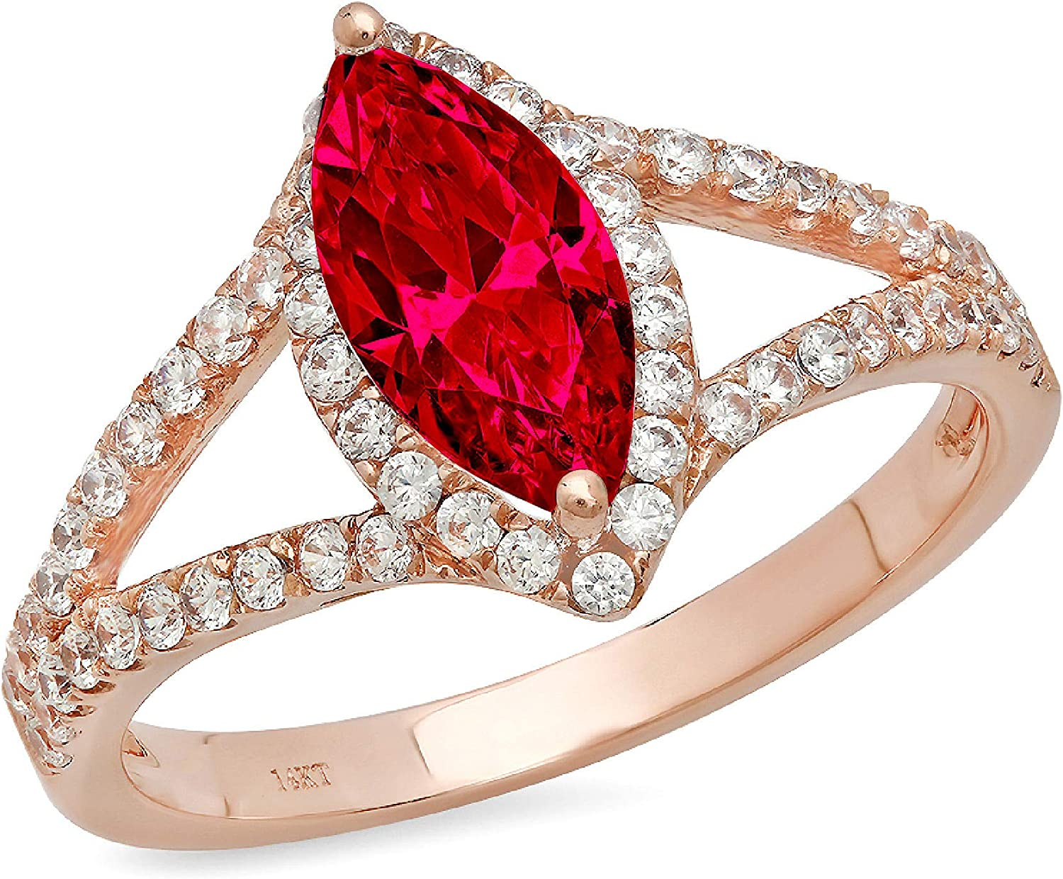 1.20 ct Marquise Cut Solitaire with Accent split shank Halo Flawless Classic Pink Tourmaline Ideal Engagement Promise Statement Anniversary Bridal Wedding Designer Ring 18k Rose Gold
