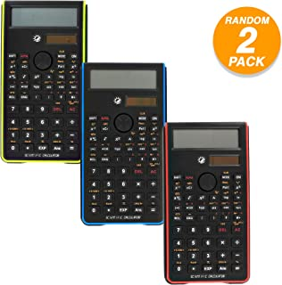 Emraw 240 Function Fancy color Scientific Calculator with Slide-On Case Electronic Large Display Battery Included Big Buttons Handheld Standard Functional Office Calculator (Pack of 2)