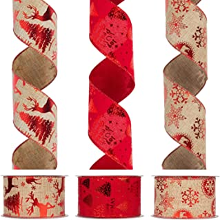 KI Store Christmas Ribbon Wired Red Ribbons for Christmas Tree Decorations and Gift Wrapping 2.5 Inch Wide 30 Yards (3 Spool X 10 Yds)
