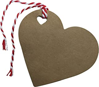 Kraft Tags for Gift Wrapping and Labeling (Heart Shaped Natural Kraft 25 PCS)