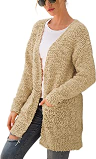 Womens Soft Chunky Knit Sweater Long Sleeve Open Front Cardigan Outwear with Pockets
