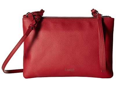 Lipault Paris Plume Elegance Leather Multi Pouch Bag (Ruby) Handbags