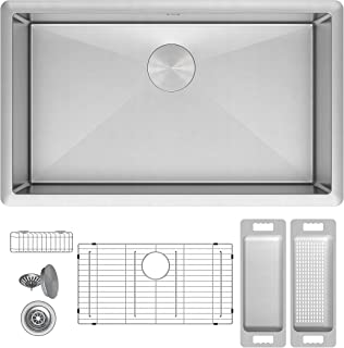 ZUHNE Modena 30 Inch Single Bowl Undermount 16 Gauge Stainless Steel Kitchen Sink W. Grid, Caddy, Colander, Strainer (Fits 33
