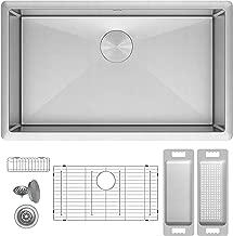 ZUHNE Modena 32 Inch Single Bowl Undermount 16 Gauge Stainless Steel Kitchen Sink W. Grid, Caddy, Colander, Strainer (Fits 36