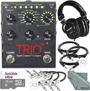 Digitech TRIO+ Band Creator and Built-In Looper and Accessory Bundle w/ 16GB + Closed-Back Headphones + Cables + Fibertique Cloth