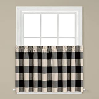 SKL HOME by Saturday Knight Ltd. Grandin Curtain Tier Pair, 57 Inches x 36 Inches, Black