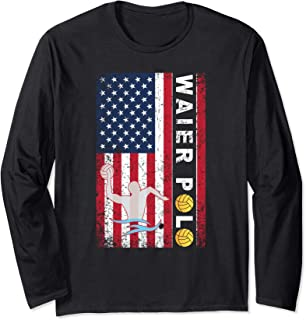 Vintage Water Polo USA Red White Blue Flag Long Sleeve Shirt