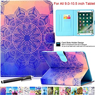 Universal Case for 9-10.5 Inch Tablet, Newshine PU Leather Stand Folio Case for New iPad 9.7 2017/2018, Galaxy Tab S2/S3 9.7, Amazon Kindle Fire HD 10 and Other 9.7 10.1 10.5 Models - Mandala Flower