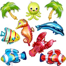 Chuangdi 9 Pieces Ocean Animals Balloons Large Animal Balloons Cartoon Fish Balloons Foil Balloons for Kids Birthday Party Decoration Supplies