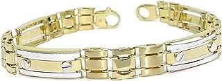 Preciosa pulsera de oro de 18k blanco y amarillo para hombre de 9mm de ancha y 20.50cm de larga de eslabones tipo armis de oro mate, brillo y bicolor. 16.65gr de oro de 18k.
