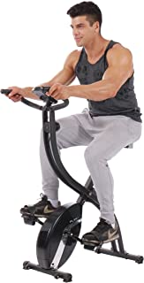 PLENY Foldable Upright Stationary Exercise Bike with 16 Level Resistance, New Exercise Monitor with Phone/Tablet Holder