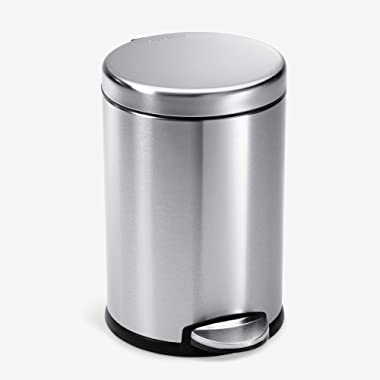 simplehuman Gallon Round Bathroom Step Trash Can, 4.5 Liter / 1.2 Gallon, Brushed Stainless Steel