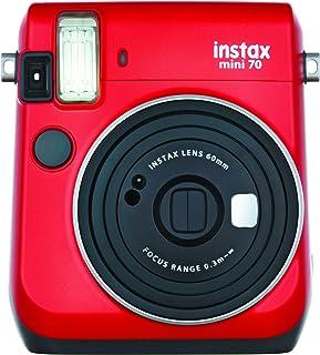 Fujifilm Instax Mini 70 - Cámara analógica instantánea (ISO 800 0.37x 60 mm 1:12.7 Flash automático Modo autorretrato exposición automática Temporizador Modo Macro) Rojo pasión