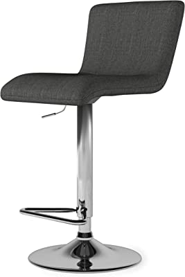 SIMPLIHOME Madox Contemporary Modern Adjustable Bar Stool in Charcoal Grey Linen Look Fabric