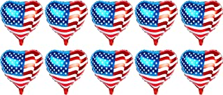 Pack of 10 American Flag Balloons PE Helium Foil Balloon Mylar (Heart Shaped 20'')