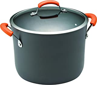 Rachael Ray 87497 Brights Hard Anodized Nonstick Stock Pot/Stockpot with Lid, 10 Quart, Gray with Orange Handles