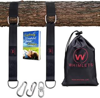 Whimlets Tree Swing Straps Hanging Kit - Two Straps Extra Long with Safer Lock Snap Carabiner Hooks - Perfect for Tree Swings & Hammocks – Easy and Fast Installation (BLACK-10FT)