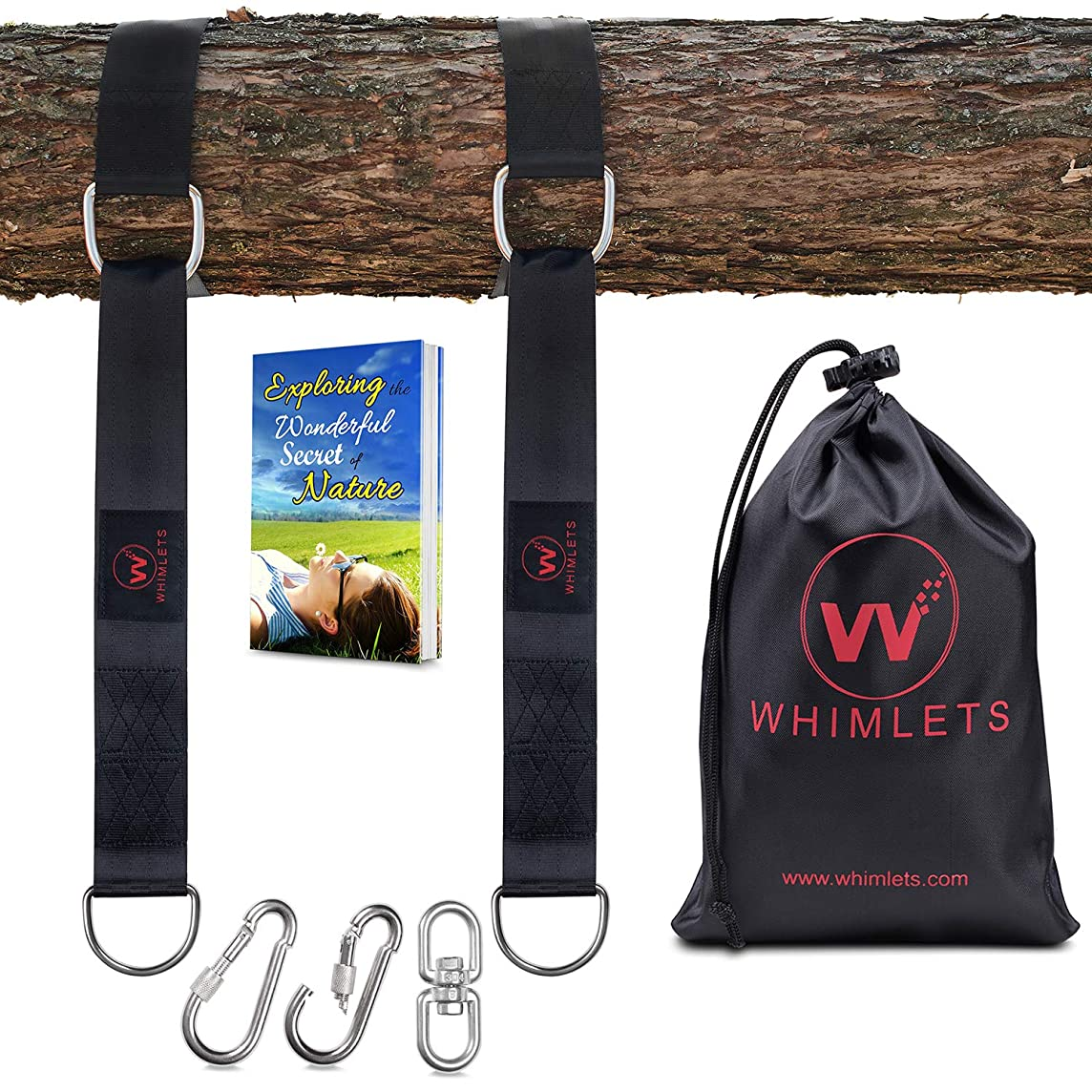 Whimlets Tree Swing Straps Hanging Kit 10ft Black - Two Straps Extra Long with Safer Lock Snap Carabiner Hooks - Perfect for Tree Swings & Hammocks – Easy and Fast Installation