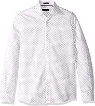 Tommy Hilfiger Men's Dress Shirts Non Iron Slim Fit Print, Guava, 16.5