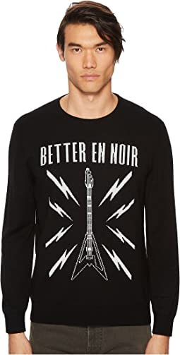 The Kooples Black Intarsia Sweater with Guitar Logo