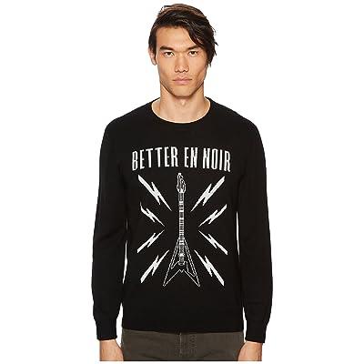 The Kooples Black Intarsia Sweater with Guitar Logo (Black) Men