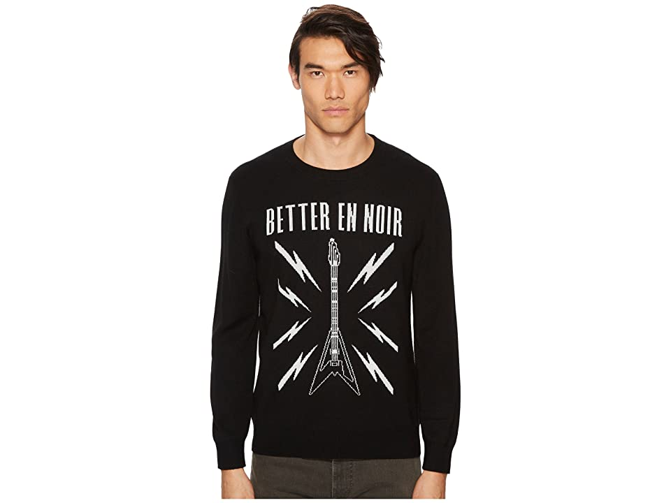 The Kooples Black Intarsia Sweater with Guitar Logo (Black) Men