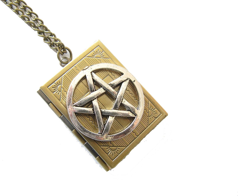 Supernatural Book of Spells,Supernatura Pentagram Locket Necklace