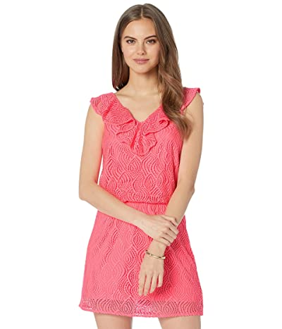 Lilly Pulitzer Alessa Romper (Crab Claw Coral Flowing Leaf Lace) Women