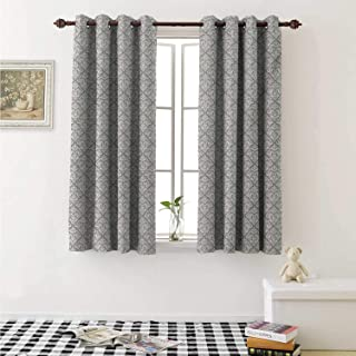 shenglv Damask Room Darkening Wide Curtains Arabesque Tile with Oriental Design Elements Ancient Revival Swirled Leaf Motif Window Curtain Drape W108 x L72 Inch Taupe White