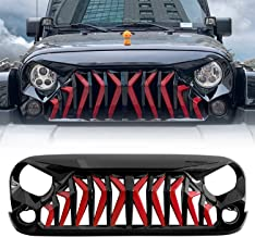 IBACP Black&Red Shark Style Front Gladiator Grille Grid Grill for 2017-2018 Jeep Wrangler JK Rubicon Sahara Sport Front Shark Face