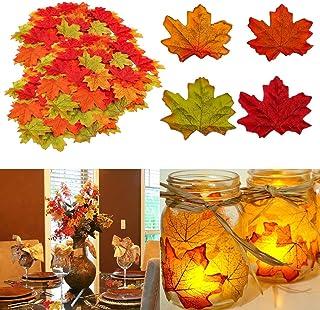 comprar comparacion Muscccm Hojas de Otoño, 400 Piezas Hojas otoño Decoracion Halloween Hojas de Arce Artificiales de Colores de Otoño Mezclad...