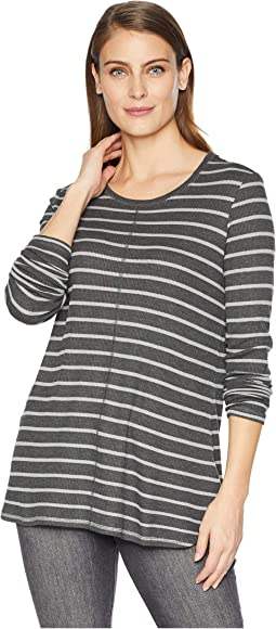 Long Sleeve Striped Honeycomb Crew Neck Top