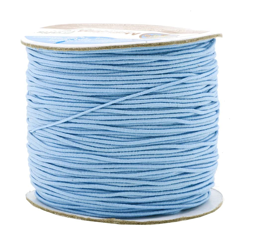 Mandala Crafts 1mm 109 Yards Round Rubber Fabric Covered Elastic Cord, Stretch String for Beading, Jewelry Making, Masks, DIY Crafting (Baby Blue)