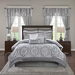 Madison Park Essentials Jordan Room in A Bag Faux Silk Comforter Luxe All Season Down Alternative Bed Set with Bedskirt, Matching Curtains, Decorative Pillows, Queen, Grey 24 Pieces