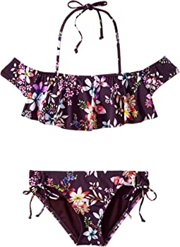 Tropi-Call Me Ruffle Crop Top with Adjustable Hipster Set (Big Kids)