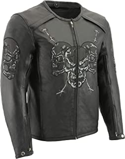 M Boss Apparel BOS11500 Mens Black Leather Armored Racing Jacket with Reflective Skull Design - X-Large