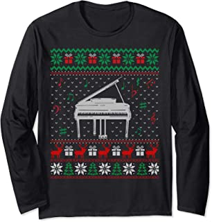 Piano Ugly Christmas Sweater For Piano Lovers Long Sleeve