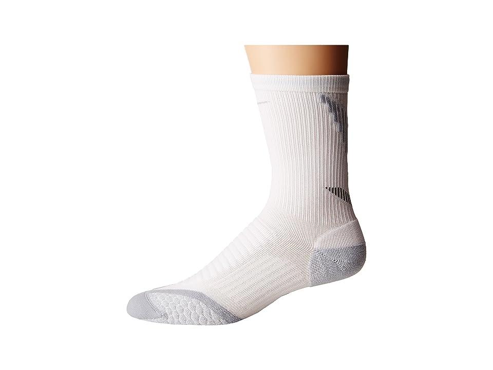 Nike Elite Running Cushion Crew (White/Light Base Grey/Med Base Grey) Crew Cut Socks Shoes