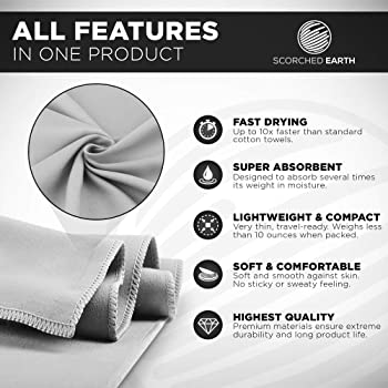 ScorchedEarth Microfiber Travel & Sports Towel Set - Quick Dry, Super Absorbent, Compact, Lightweight - for Camping, ...