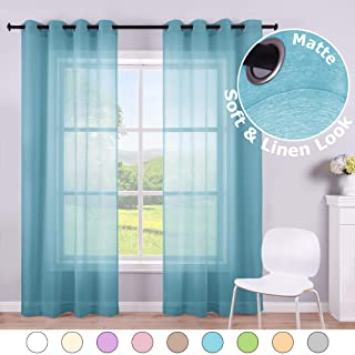 Faux Linen Aqua Blue Window Sheer Curtains 84 Inch 2 Panels Grommet Voile Drape Semi Sheer Curtains for Living Room Kids Bedroom Width 52 Length Matte Nickel Silver Ring Top Peacock Aegean Teal Aqua