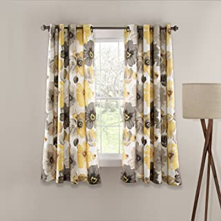 """Lush Decor Leah Floral Room Darkening Yellow and Gray Window Curtains Panel Set for Living Room, Dining Room, Bedroom (Pair), 63"""" x 52"""""""