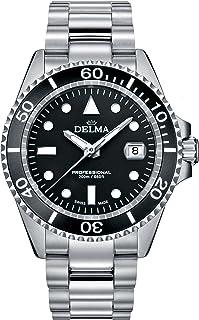 DELMA - Reloj de hombre de cuarzo negro con correa de acero inoxidable 407060
