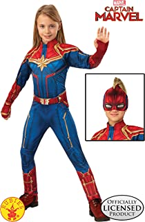 Rubie's Marvel - Captain Marvel - Captain Marvel Deluxe Hero Suit Costume, Child 8-10Yrs Blue/Red